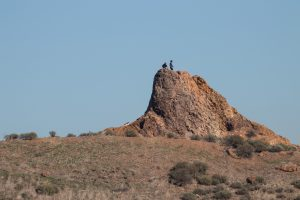 Explore the Rocky outcrops poking out the tops of the Coyote Hills